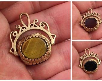 Vintage English 9kt Yellow Gold Three Stone Spinning Watch Fob Tiger Eye Onyx Carnelian