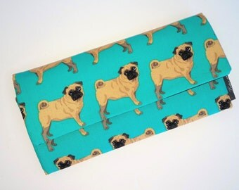 Pugs Dogs Wallet-Wristlet-Coin Purse-Credit Card Holder-Check Book-Cell Phone Pouch