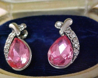 Rose Pink SWAROVSKI Pear Cut Crystal & CZ Pave ~ Silver Plate Post Earrings
