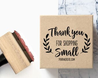 Custom Thank you for Shopping Small - Pre-Designed Rubber Stamp - Etsy Branding, Packaging, Party, Stickers, Tags, Shipping Packaging - T001