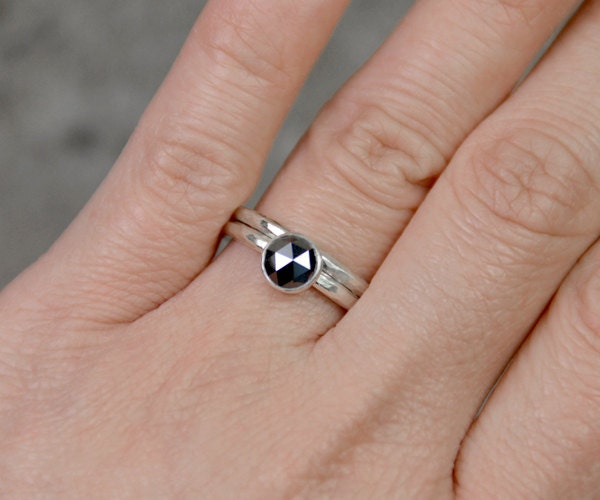 Rose cut diamond engagement ring will matching hammered effect wedding band in 9ct white gold