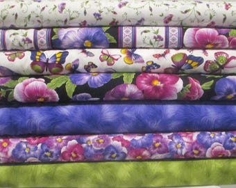 Purple Pansy Half Yard Fabric Bundle - Timeless Treasures - Viola
