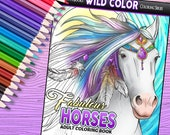 Fabulous Horses - Adult Coloring Book 30 pages - Printable Instant Download PDF