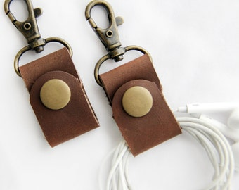 PAIR of Headphone Wraps Earbud Holder Brown Leather Cord Keeper Cord Wrapper with Clip