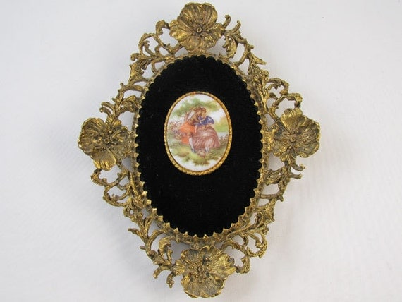 Vintage Fragonard ceramic transferware art / wall plaque / wall art / antique gilt finish metal / man and woman courting / shabby chic