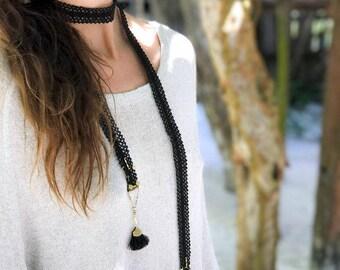 Lace necklace - COLI SASH - Black lace