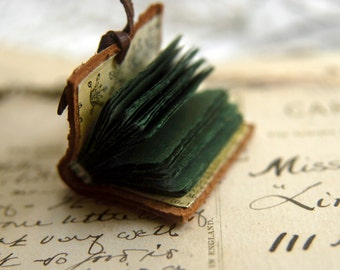 The Botanist - Miniature Wearable Book, Vintage Leather, Deep Green Pages - OOAK
