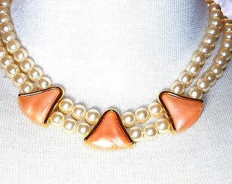 Napier Faux Pearl Necklace Vintage with Pink Triangular Pieces