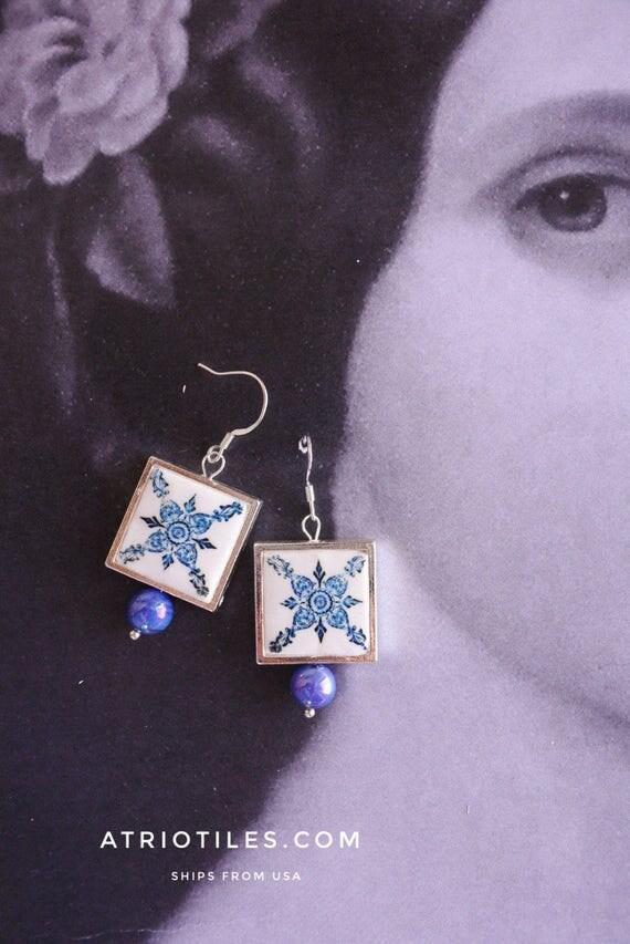 Silver Earrings Portugal Tile Azulejo Portuguese Antique Azulejo FRAMED - BRAGA  Blue Majolica (see actual Facade photo) Gift Boxed  730
