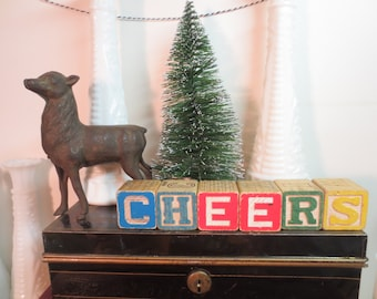 vintage Wooden Blocks CHEERS! Holiday Greeting Table or Mantle Decor Holiday decor