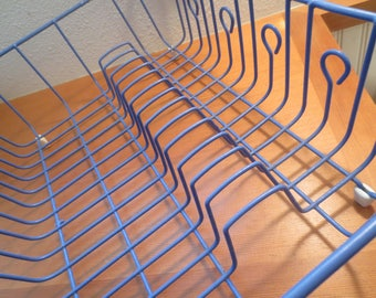 Vintage Blue 1980's Dish Drainer / retro dish drainer / rubber coated dish drainer / dish drying rack / sink rack