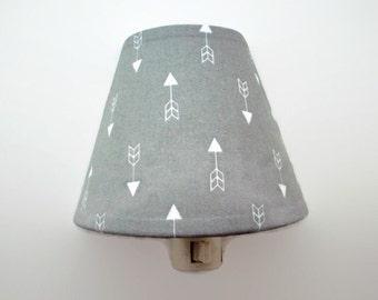 Arrows Night Light - Arrow Tribal Nightlight - Grey Nursery Night Light - Nursery Decor - Girls Grey Bedroom Light - Baby Room Night Light
