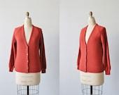 Red Grandpa Cardigan Sweater /  1970s Sweater / Grandpa Sweater / Cinnamon