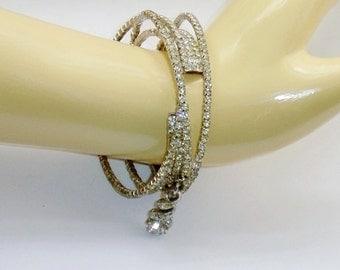 Vintage Crystal Rhinestone Bracelet - Multi Strand Spiral With Rhinestone Dangle Charm