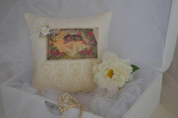 "Wedding Ring Bearer Pillow ""Congratulations"" Lovebirds"