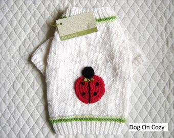 Appliqued Dog Sweater, Pet Top, Hand Knit Pet Sweater, Size XSMALL, Ladybug Applique