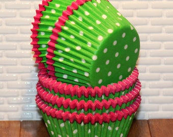 Hot Pink Trim Green Polka Dot Cupcake Liners  (Qty 32) Green Polka Dot Cupcake Liners, Green Cupcake Liners, Bright Green Muffin Cups