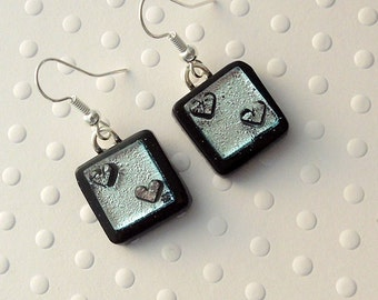 Heart Earrings, Dichroic Fused Glass Earrings, Valentine Earrings, Fused Glass, Dangle Earrings. Gift For Her, Spring Jewelry X3114