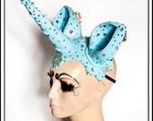 Sky Bound.... Powder Blue Unicorn Headdress with Animal Ears with Pearls Rhinestones Fascinator