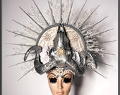 RESERVED zzzzzz ce Queen... Evil Hat in Silver White Icicles Ram Head Vegan Headdress Winter Beads