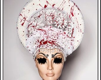 Blood Within...... White Lace Halo with Blood and White Carnation Flowers and Red Rhinestones Religious Headdress