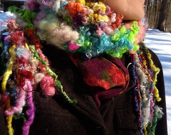 hand knit soft art yarn wool curls flower scarf -  blooming garden scarf