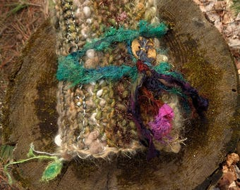 rustic hand knit wool and art yarn journal art book -  enchanted words forest journal