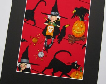 """RARE FABRIC ART Design - Knitting Witch - Alexander Henry - Mounted For Framing  - 8""""x10"""" Matted Image - Final Size with Board 11""""x14"""""""