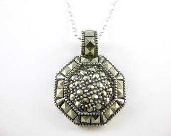 Vintage Judith Jack Sterling Silver Necklace Pendant, Marcasites Jewelry, Women Sterling Fashion, Designer Signature