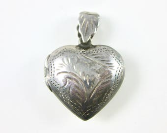 Vintage Sterling Silver Heart Locket, Silver Heart 925, Women Keep Sake, Sterling Heart Locket Pendent