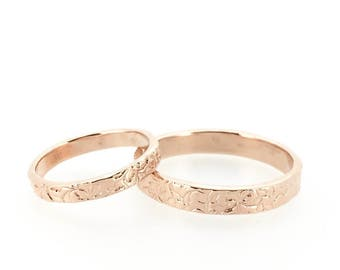 rose gold wedding band ring set . pink gold rings leaf vine engraved wedding bands rings . gold wedding bands band set by peacesofindigo