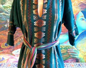Mexican shirt, Embroidered Mexican, Short sleeve shirt, Green Brown shirt, size  M