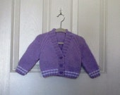 RESERVED FOR AMIRA    Hand Knitted - Lavender/Purple Baby Sweater with Butterfly Buttons
