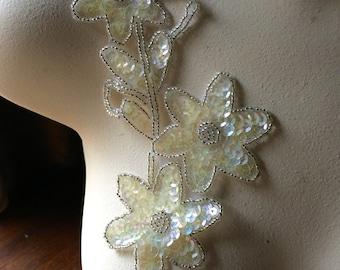IVORY Beaded Flower Applique for Lyrical Dance, Ballet, Headbands, Garments, Costumes  CA 902
