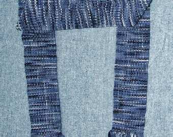 Handwoven Unisex Men's or Women's Scarf in Navy Blue and Black Plaid