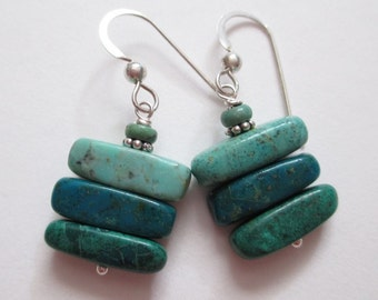 Chrysocolla Earrings, turquoise green stack earrings, sterling and stone earrings