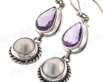 "1"" Adorable Purple Amethyst Freshwater Pearl 925 Sterling Silver Earrings"