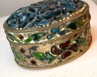 Carved Blue Flower Top on Cloisonne Enamel PILLBOX, Flowered Stash or Pill Box, 1980s, Dark Patina, Chic,Shabby, Man or Woman, Asian Chinese
