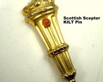 Scottish Scepter Vintage Kilt Pin, Scottish Highlands  Brooch, Victorian Style Maybe 1950s or earlier, Well Kept