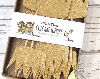 Max's Crown Glittery Cupcake Toppers - Set of 12 - Where the Wild Things Are