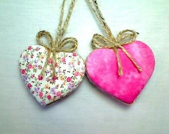 Pink Heart Ornaments   Home Decor   Party Favor   Wedding Bridal    Holidays   Tree Ornament   Valentines Day   Handmade USA, Set/2, #3