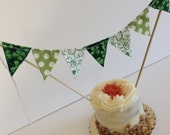 ST. PATRICK'S DAY Fabric Banner Cake Topper--Green White Cotton St. Patty Prints--Shamrocks--Party Cake Banner--Cake Garland--Cake Flags