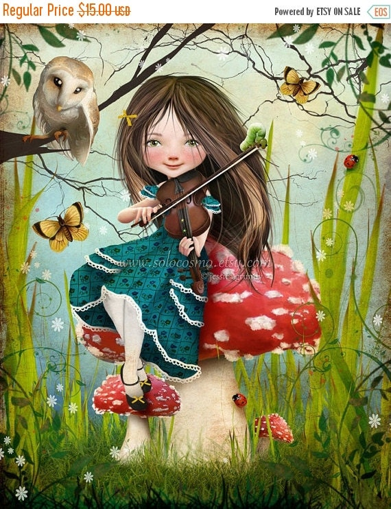 "BIRTHDAY SALE Fantasy Fairy Tale Girl Playing Violin with Owl ""Uma"" Fine Art 8.5x11 or 8x10 - Digital Collage Painting Art Wonderland"