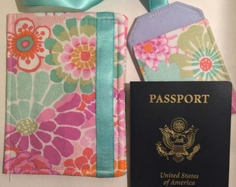 Passport Cover and Luggage Tag, Beautiful Floral Bouquet Print, Feminine Passport Wallet and Luggage Tag, passport cover, vegan