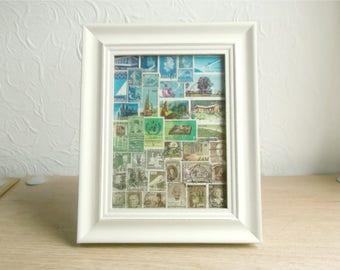 Abstract Landscape, Framed Postage Stamp Art - Original Upcycled Collage Art