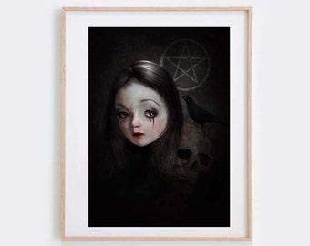 Dark Art Print - Goth Girl Portrait - Gothic Art Print - Goth Girl & Skull - Gothic Portrait -  Big Eyes Art - Big Eyes Girl - Occultist