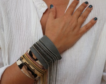 Statement Cuff Leather Bracelet. Bohemian Chain Fringe Bracelet. Wide Leather Cuff with Chains. Statement Jewelry. Unique Gift for Women