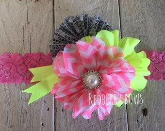 PINK, Neon YELLOW and GRAY with Rhinestone and Pearl Flower Trio Headband