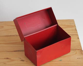 Fire Engine Red Metal Recipe Box - Card File - Hinged Storage Tin