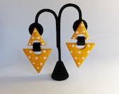 1980s New Wave Preppy Door Knocker Earrings Yellow Polka Dot Oversized